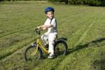 Thumbnail Young boy, 4 years old, wearing helmet and riding a bike in a meadow