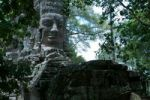 Thumbnail Stone sculpture, face at the west gate of Angkor Thom, Siem Reap, Cambodia, Southeast Asia
