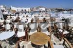 Thumbnail Empty chairs in a restaurant at the port in Naoussa, Paros, Cyclades, Greece, Europe