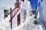 Thumbnail Typical stairway entrances in a narrow alley in Mykonos, Cyclades, Greece, Europe