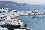 Thumbnail Old port, blue sea and windmills on Mykonos, Cyclades, Greece, Europe