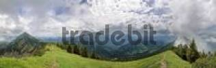 Thumbnail Panoramic view of Mt Guffert and the Tegernseer Alps from the Blaubergkamm Ridge, short before storm, Wildbadkreuth, Bavaria, Germany, Europe