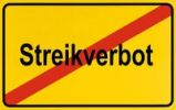 Thumbnail Sign, end of city limits, as symbol for ending the ban on strikes or Streikverbots