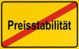 Thumbnail Sign, end of city limits, as symbol for the end of Price Stability or Preisstabilitaet