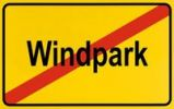 Thumbnail Sign, end of city limits, as symbol for the end of Wind Farms or Windparks