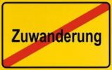 Thumbnail Sign, end of city limits, as symbol for the end of immigration or Zuwanderung