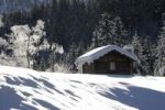 Thumbnail Snow-covered hut, Wetterstein mountains, Alps, Upper Bavaria, Bavaria, Germany, Europe
