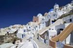 Thumbnail Alleys of Oia, Ia, and a domed church, with typical Cycladic architecture, Santorini, Cyclades, Greece, Europe