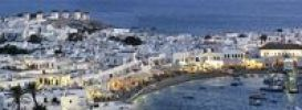 Thumbnail Panorama of Mykonos with windmills, old port, Cyclades, Greece, Europe