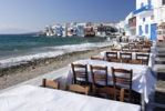 Thumbnail Tables at a restaurant on the waterfront located in front of Little Venice District in Mykonos, Cyclades, Greece, Europe