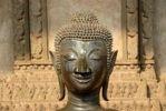 Thumbnail Head of a bronze Buddha statue with shut eyes, Haw Pra Keo Museum, Vientiane, Laos, Southeast Asia