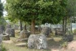 Thumbnail Mysterious stone jugs under trees, Plain of Jars site No. 3, Hai Hin Lat Khai, Xieng Khuang Province, Laos, Southeast Asia