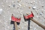 Thumbnail Shovels stuck in a sandy beach, Kniepsand, North Sea, Amrum Island, Schleswig-Holstein, Germany, Europe