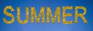 Thumbnail Summer, written with letters made of sunflowers