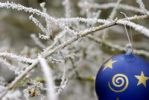 Thumbnail Glass ball Christmas decoration hanging from a frozen tree, Baden-Wuerttemberg, Germany, Europe