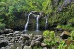 Thumbnail Upper Waikani Falls, also known as Three Bear Falls, waterfalls on the Road to Hana, famous tourist road, east coast of Maui Island, Hawaii, Hawaii, USA