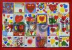 Thumbnail mosaik of painted pictures from childrens with heards