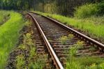 Thumbnail Railway track with concomitant flora along the line, Mecklenburg-Western Pomerania, Germany, Europe