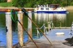 Thumbnail Landing stage of a fisherman with landing nets, boat at back, Lake Grienericksee in the municipality of Ostprignitz-Ruppin, Brandenburg, Germany, Europe