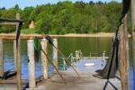 Thumbnail Landing stage of a fisherman with nets and landing nets on Lake Grienericksee in the municipality of Ostprignitz-Ruppin, Brandenburg, Germany, Europe