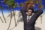 Thumbnail Computer generated image of a businessman on a desert island
