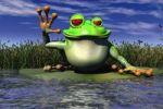 Thumbnail Cartoon illustration of a frog waving