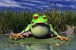 Thumbnail Cartoon illustration of a frog sitting in pond