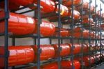 Thumbnail Shelved oil barrels at a refinery