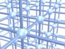 Thumbnail Three dimensional grid construction out of blue metallic spheres and rods, 3D illustration, concept symbolizing networks, interconnectedness, construction, business systems, organization, structur