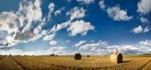 Thumbnail Wide angle shot of a mown grain field, with a woman sitting on a round straw bale beneath unusual cloud formations in afternoon light