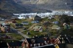 Thumbnail Settlement with multicoloured houses, sea ice in the fjord, Ammassalik, East Greenland, Arctic
