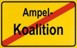 Thumbnail End of town sign, symbolic image for the end of the traffic light coalition, SPD, FDP and Die Gruenen