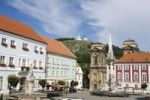 Thumbnail Square with town hall, Dietrichsteins sepulchral church and Svaty Kopecek, Holy Hill, Mikulov, Breclav district, South Moravia, Czech Republic, Europe