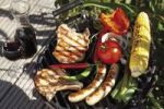 Thumbnail Outdoor barbecue, meat chops, sausages, tomatoes, red wine, corn on the cob, peppers