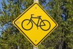 Thumbnail Road sign, bicycle on a yellow diamond, USA