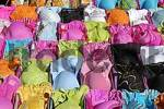 Thumbnail bras in many colours are being sold at a fleamarket, Spain