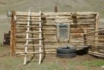 Thumbnail Shepherds hut, log cabin, Tschuja Steppe, Saljugem, Sailughem, Saylyugem Mountains, Altai Republic, Siberia, Russia, Asia
