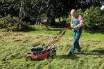 Thumbnail Gardener with lawnmower