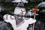 Thumbnail snowman with hat, scarf and besom