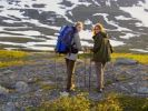 Thumbnail Two women, hikers in Raavredendurrie Valley, Borgefjell National Park, Nordland, Norway, Scandinavia, Northern Europe