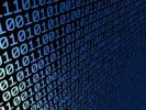Thumbnail Light blue binary codes on black, 3D illustration