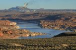 Thumbnail View over Lake Powell towards a coal power plant, Navajo Generating Station / Lake Powell, Page, Arizona, United States, North America