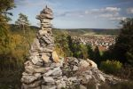 Thumbnail View past a cairn towards Dietfurt from Hirschblick lookout / Dietfurt, Bavaria, Germany, Europe