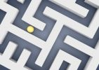 "Thumbnail Labyrinth, maze, with a ball or sphere, symbolic image for """"path to success"""" search, 3D illustration"