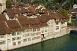 Thumbnail Row of houses along the riverbank of the Aare River in the historic town centre of Bern, Switzerland, Europe