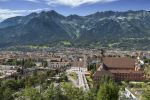 Thumbnail View of Innsbruck, Wilten district, capital of Tyrol with Northern Chain, Alps, Austria, Europe, PublicGround
