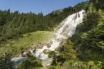 Thumbnail Grawa waterfall at the Wild Water Way, with rainbow, Grawa Alm, mountain pasture, Stubai Valley, Tyrol, Austria, Europe