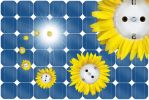 Thumbnail Symbolic image for solar energy, sun flower sockets flying out of a solar panel