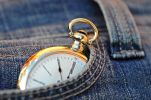 Thumbnail Pocket watch in a jeans pocket, the eleventh hour, 5 minutes to twelve