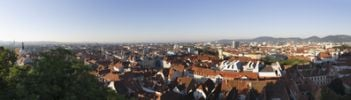 Thumbnail Panoramic view from Schlossberg, castle hill, cathedral, left, Town Hall, centre, Mariahilferkirche, Mariahilf Church, right, Graz, Styria, Austria, Europe, PublicGround